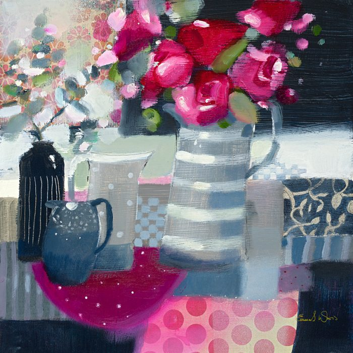 Rose red Roses and eucalyptus still life painting