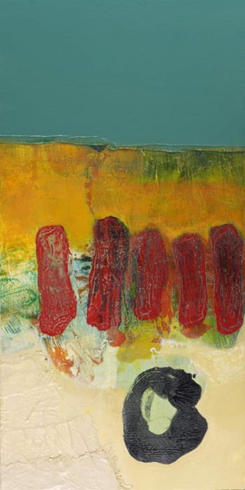Sticks and Stones; Acrylic, Mixed Media & Collage on Panel; 48 x 24.25 inches;122 x 62 cm